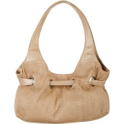 Bueno Metallic Gold & Straw Tote Handbag