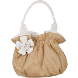Bueno White Flower Straw Tote Handbag
