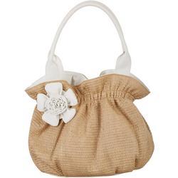 White Flower Straw Tote Handbag