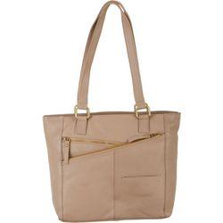 Great American Leather Multi Zip Tote Handbag