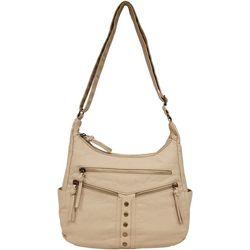 Bueno Antique Wash Double Zipper Studded Shoulder Handbag
