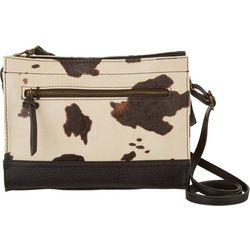 Bueno Collection Cow Print Zip Crossbody Handbag