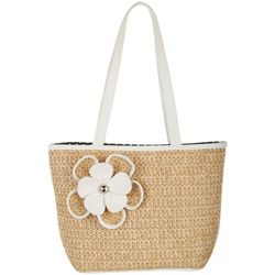 Bueno Solid Flower Straw Tote Handbag