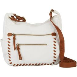 Bueno Whipstitch Double Zipper Compartment Crossbody Handbag