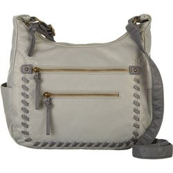 Bueno Whipstitch Double Zipper Compartment Crossbody Handbag