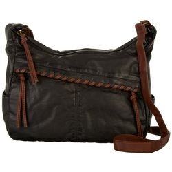 Bueno Washed Hidden Zipper Whipstitch Shoulder Handbag