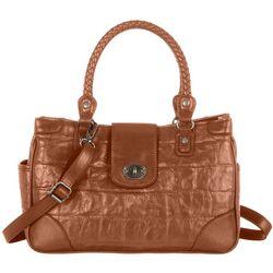 Bueno Jumbo Croco Embossed Satchel Handbag