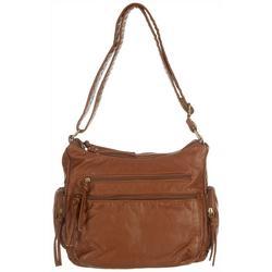 Grainy Wash Multi Zipper Shoulder Handbag