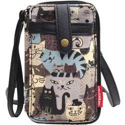 Unionbay Cat Print Cell Phone Holder Crossbody Handbag