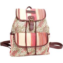Unionbay Floral & Stripes Flap Front Pocket Backpack