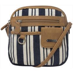 North-South Canvas Stripes Crossbody Handbag