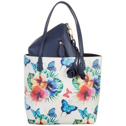 Coral Bay Floral Butterfly Bag In Bag Tote Handbag