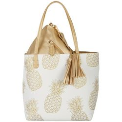 Coral Bay Pineapple Print Bag In Bag Tote Handbag
