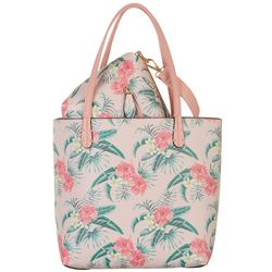 Coral Bay Pink Tropical Bag In Bag Tote Handbag