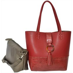 Coral Bay Faux Croco Texture Bag In Bag Tote Handbag