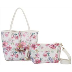Coral Bay Floral Print Bag In Bag Tote Handbag