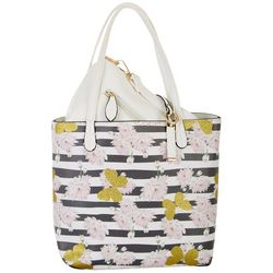 Coral Bay Floral Butterfly Print Bag In Bag Tote Handbag