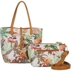 Coral Bay Tropical Floral Flamingo Bag In Bag