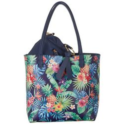 Coral Bay Tropical Pineapple Bag In Bag Tote Handbag