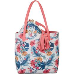 Coral Bay Floral Hibiscus Bag In Bag Tote Handbag