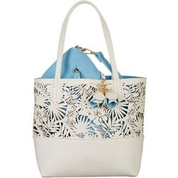 Coral Bay Tropical Cutout Bag In Bag Tote Handbag