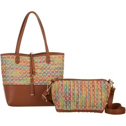 Coral Bay Colorful Raffia Bag In Bag Tote Handbag