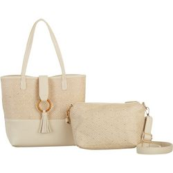 Coral Bay Raffia Bag In Bag Tote Handbag