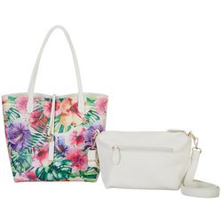 Coral Bay Watercolor Tropical Bag In Bag Tote Handbag