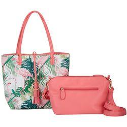 Pink Flamingo Bag In Bag Tote Handbag