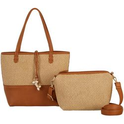 Straw Panel Bag In Bag Tote Handbag