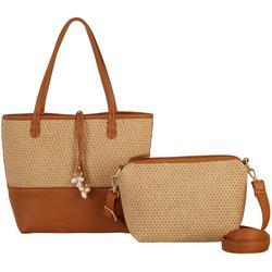 Straw Panel Bag In Bag Tote Handbag