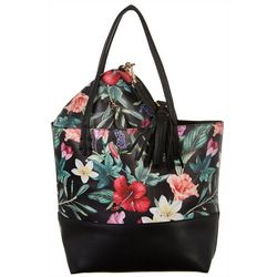 Coral Bay Tropical Floral Bag In Bag Tote Handbag