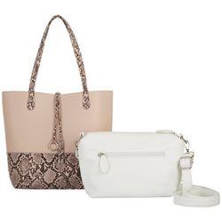 Coral Bay Reptile Print Bag In Bag Tote Handbag