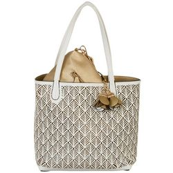 Coral Bay Fern Perforated Bag In Bag Tote Handbag