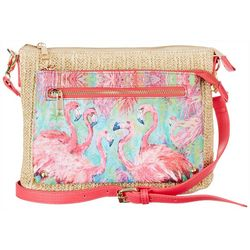 Leoma Lovegrove Flamingo Raffia Crossbody