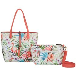 Coral Bay Pink Flamingo Print Bag In Bag Tote Handbag