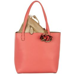 Coral Bay Solid Coral & Gold Tone Bag In Bag Tote Handbag