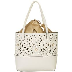 Coral Bay Floral Cutout Bag In Bag Tote Handbag