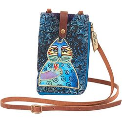 Laurel Burch Cat Blue Phone Crossbody Handbag