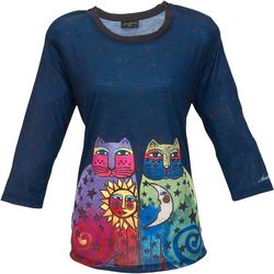Laurel Burch Womens Sun & Moon Two Cats Top