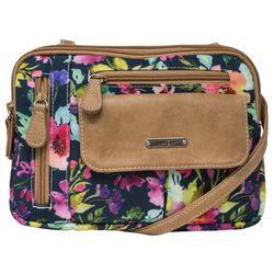 Two Tone Zippy Wildflower Crossbody Handbag