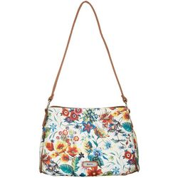 Koltov Kacey Floral Print Triple Zipper Shoulder Handbag