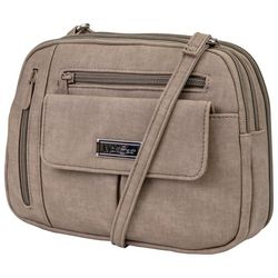 MultiSac Beige Zippy Triple Compartment Crossbody Handbag