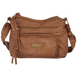 Double Washed Embossed Crossbody Handbag