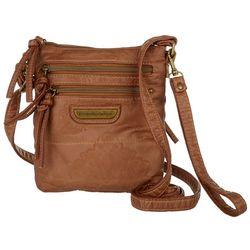 Stone Mountain Double Zippered Embossed Crossbody Handbag
