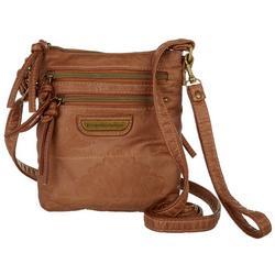 Double Zippered Embossed Crossbody Handbag