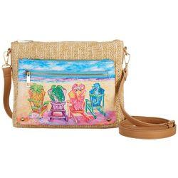 Leoma Lovegrove Front Row Seats Straw Crossbody Handbag