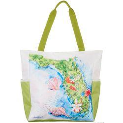 Amber Moran Florida Icon Map Print Beach Bag Tote