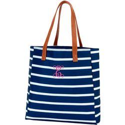 Viv & Lou Monogram E Striped Tote Handbag