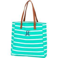 Viv & Lou Monogram A Striped Tote Handbag